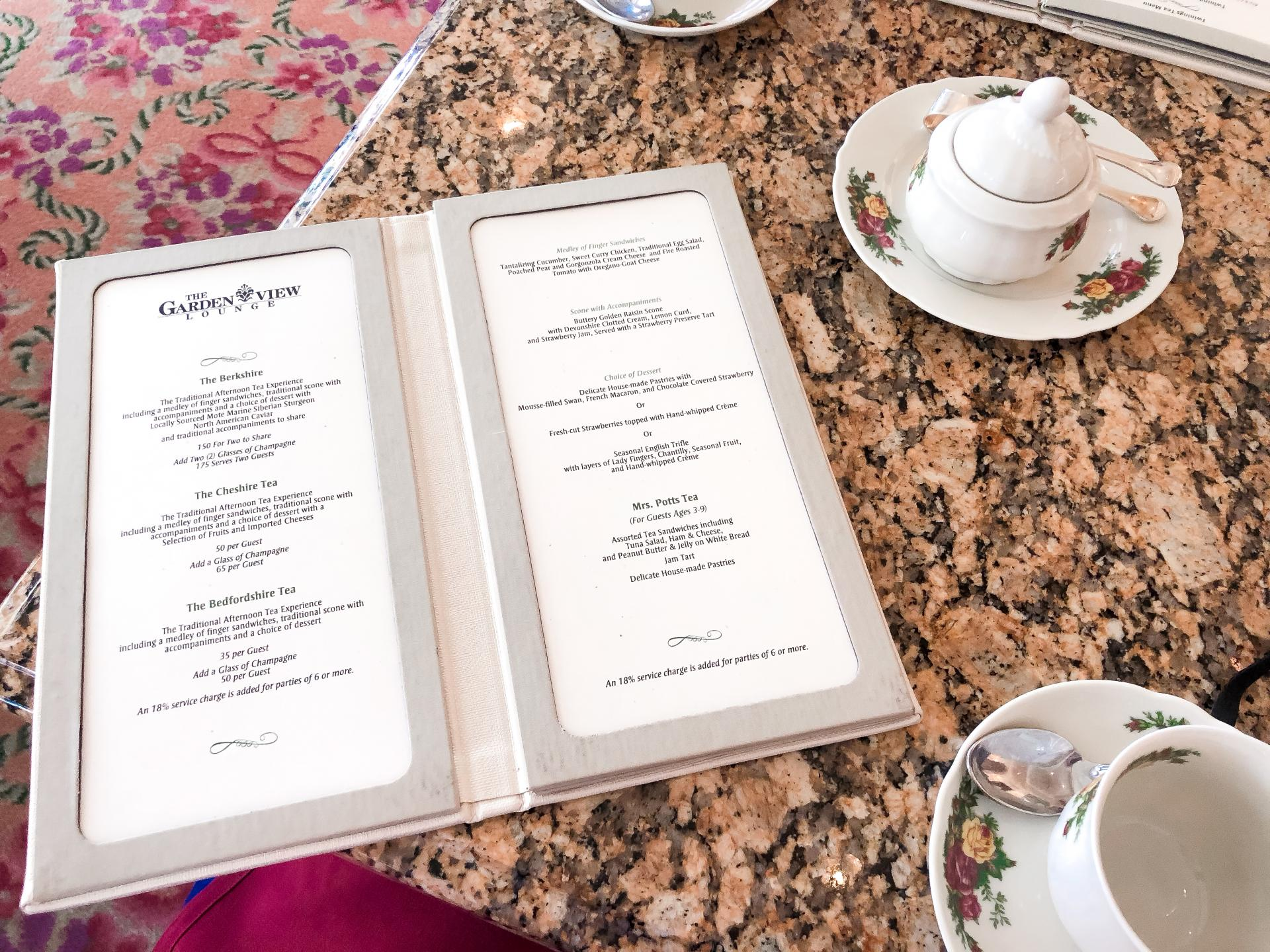 Menu for Afternoon tea at The Grand Floridian