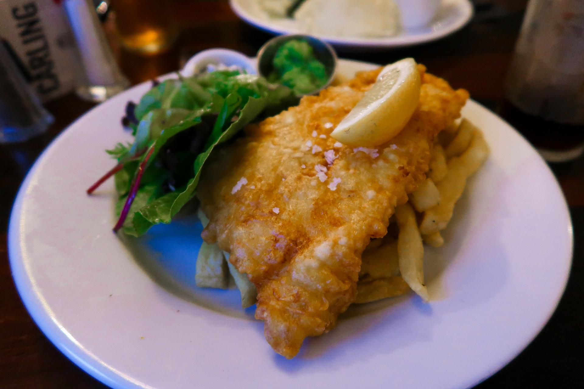 Fish and Chips at The Ship Inn, Swansea Bay