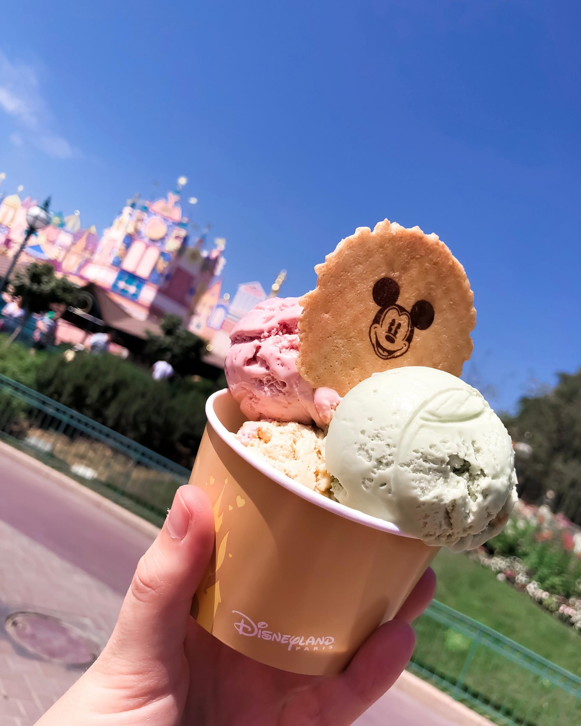 ice cream from fantasia gelati at Disneyland Paris. Disneyland Paris for First-timers
