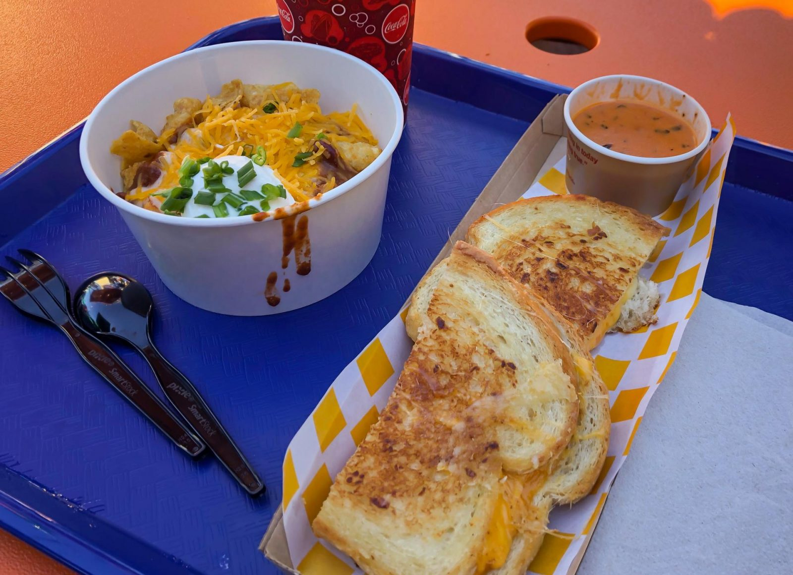 Totchos and Grilled Cheese Sandwich at Woody's lunch box, Hollywood Studios