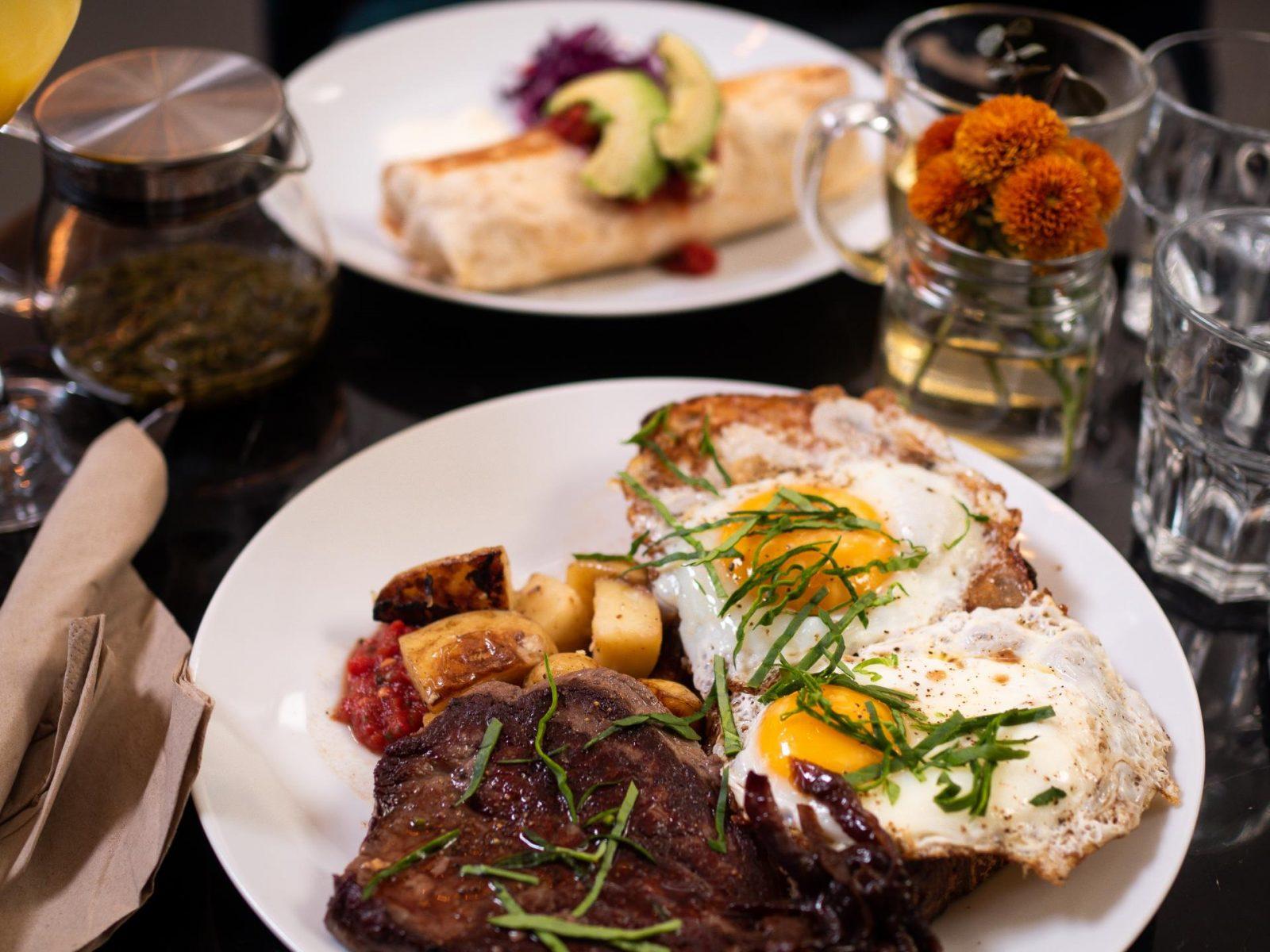 Steak and eggs at The Coocoo's Nest brunch, Reykjavik