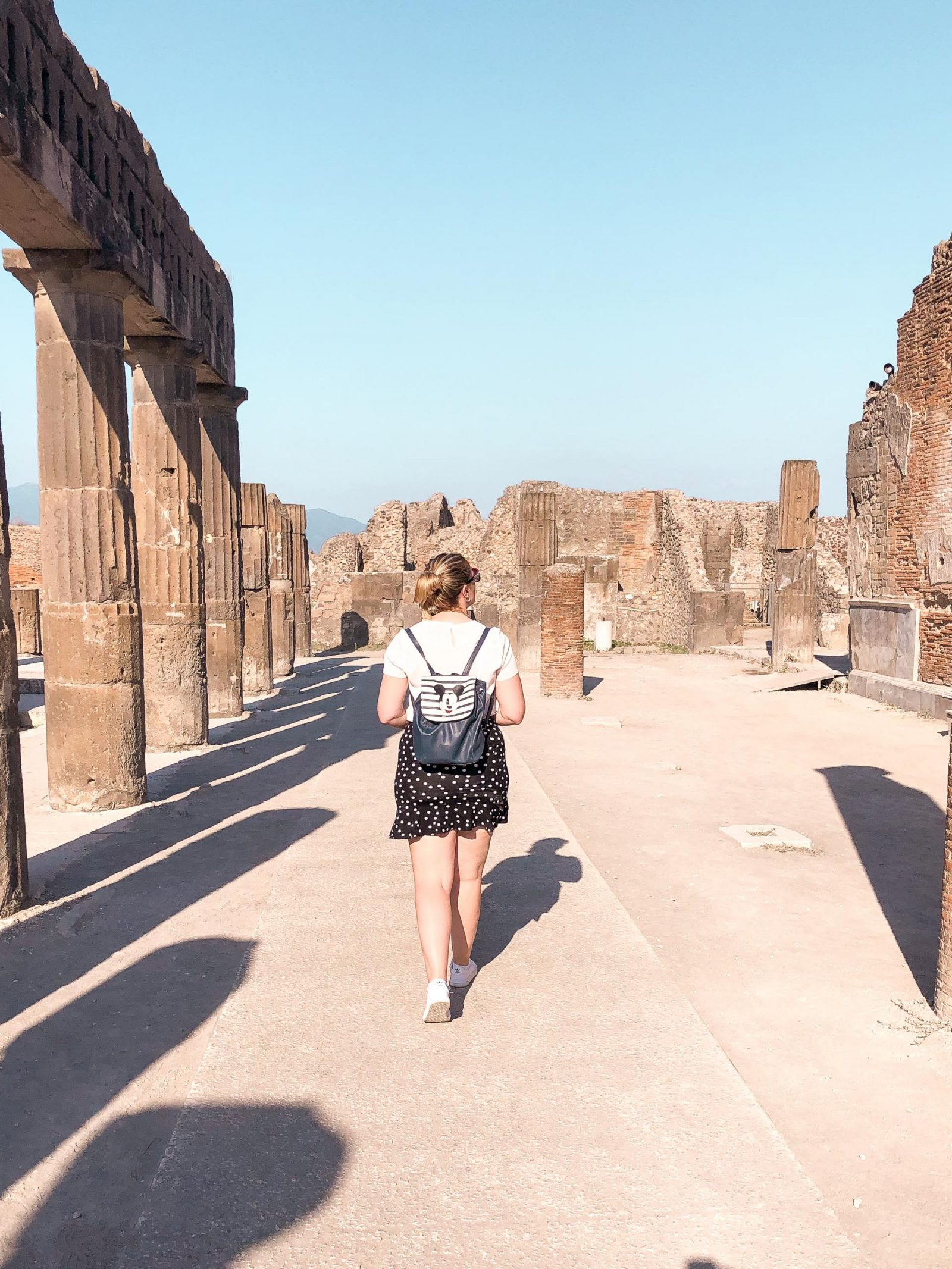 Walking the ruins of Pompeii, a day trip from Sorrento.