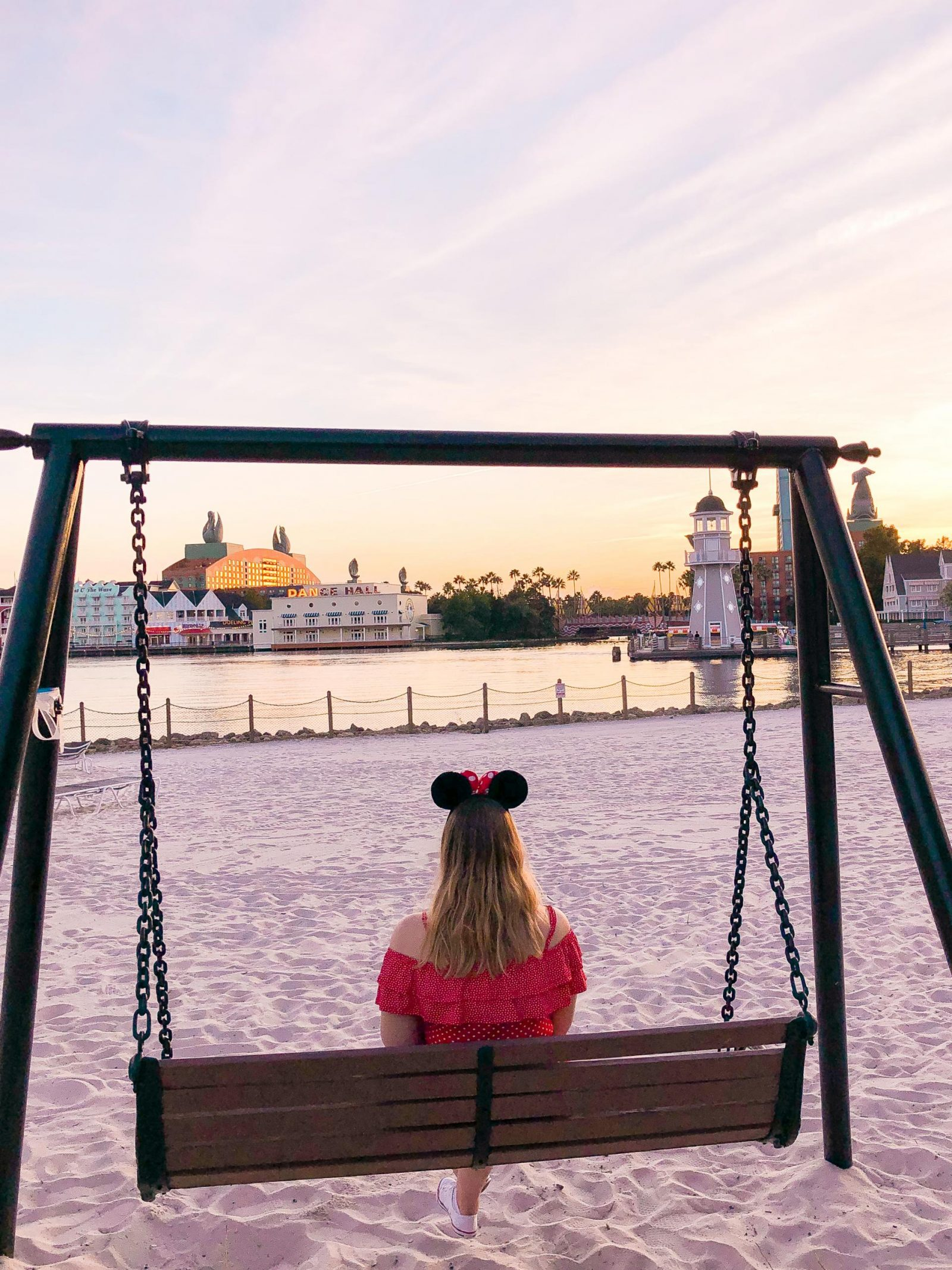 The beach overlooking the Boardwalk at Disney's Beach Club Resort