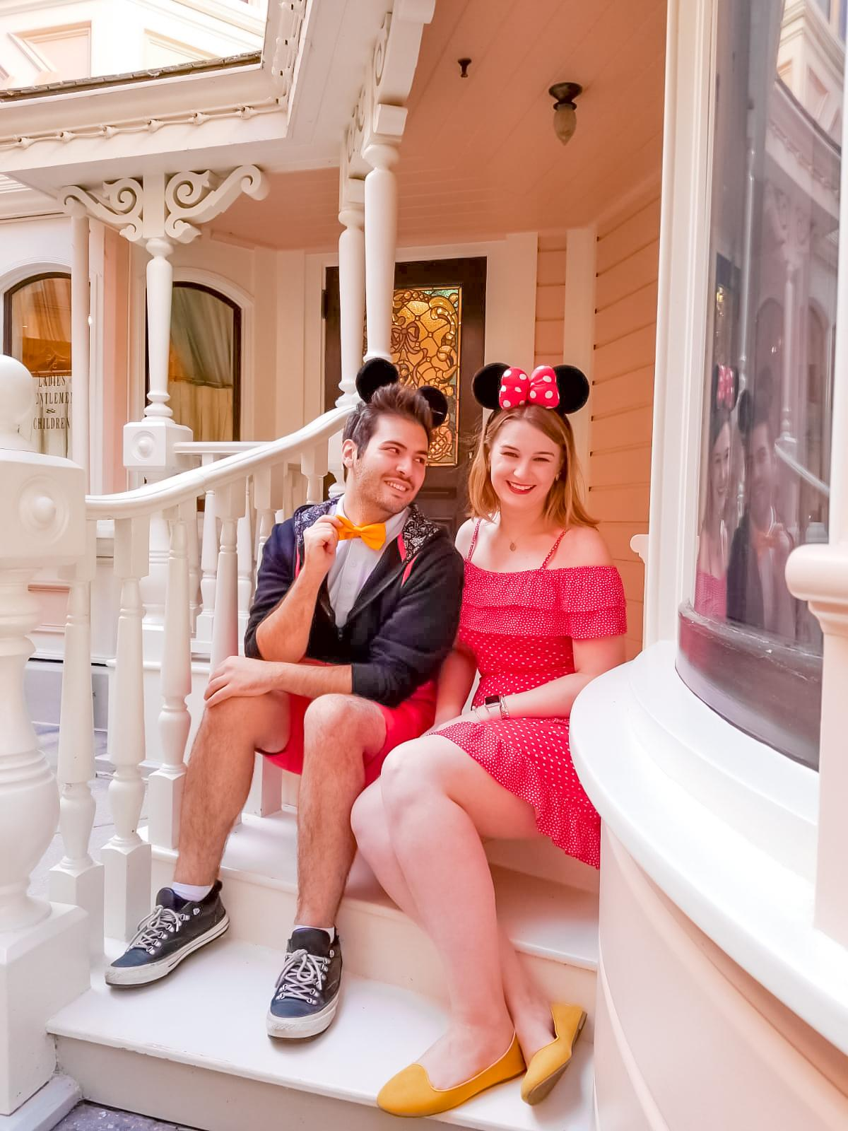 Mickey and minnie at the pink porch - one of the most Instagrammable spots at Disneyland Paris
