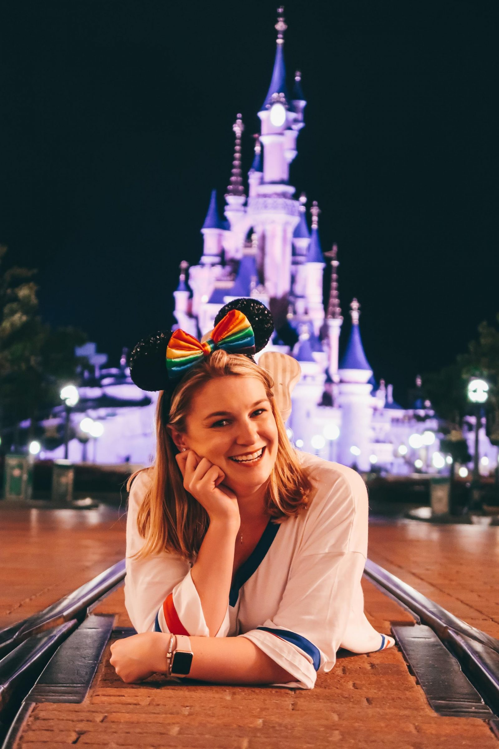 Sleeping beauty Castle at night - one of the most Instagrammable spots at Disneyland Paris
