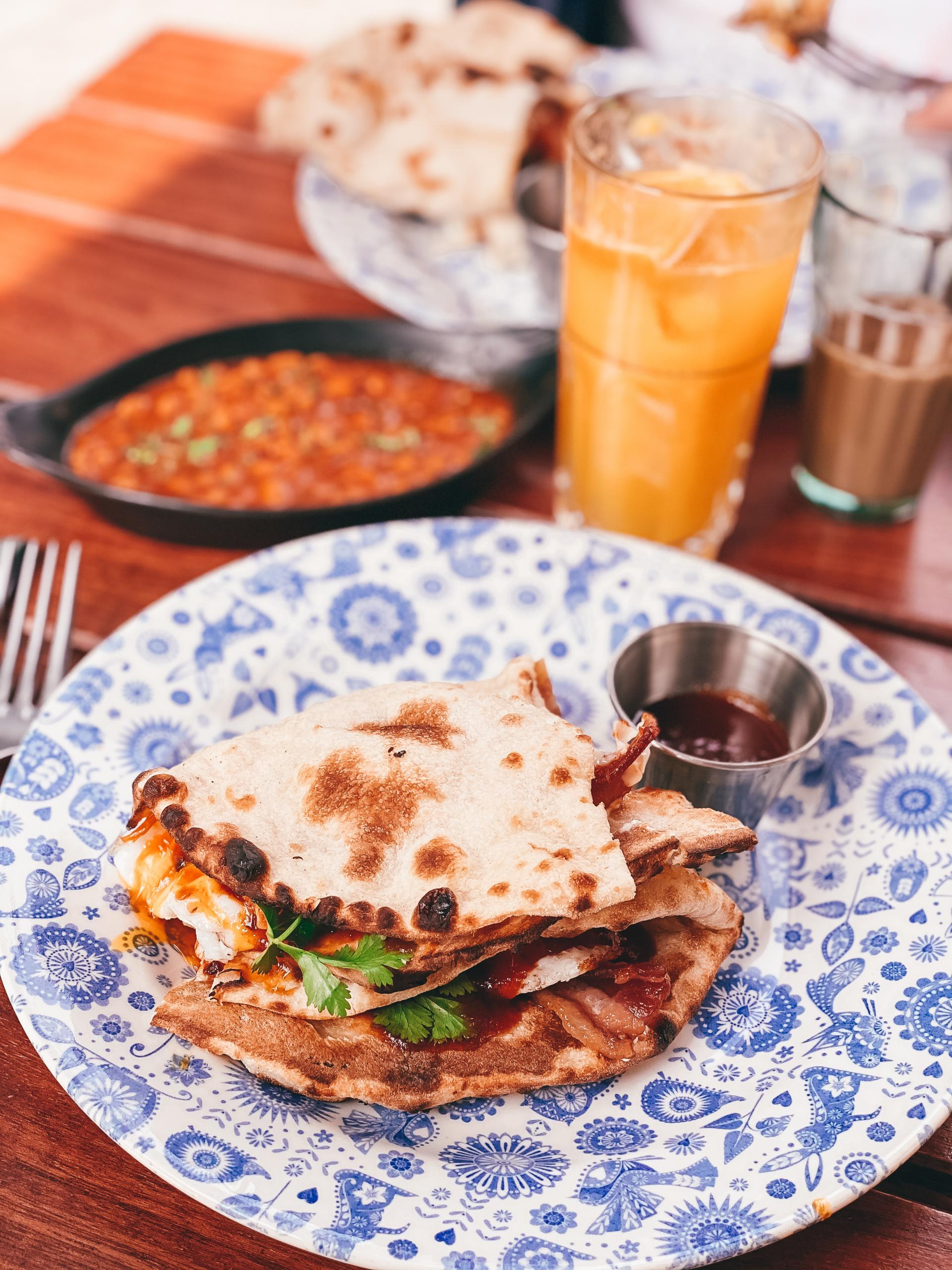 Bacon Naan at Dishoom. The best places for brunch in Birmingham.
